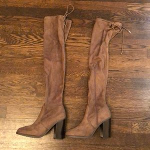 Over the knee tan faux suede boots